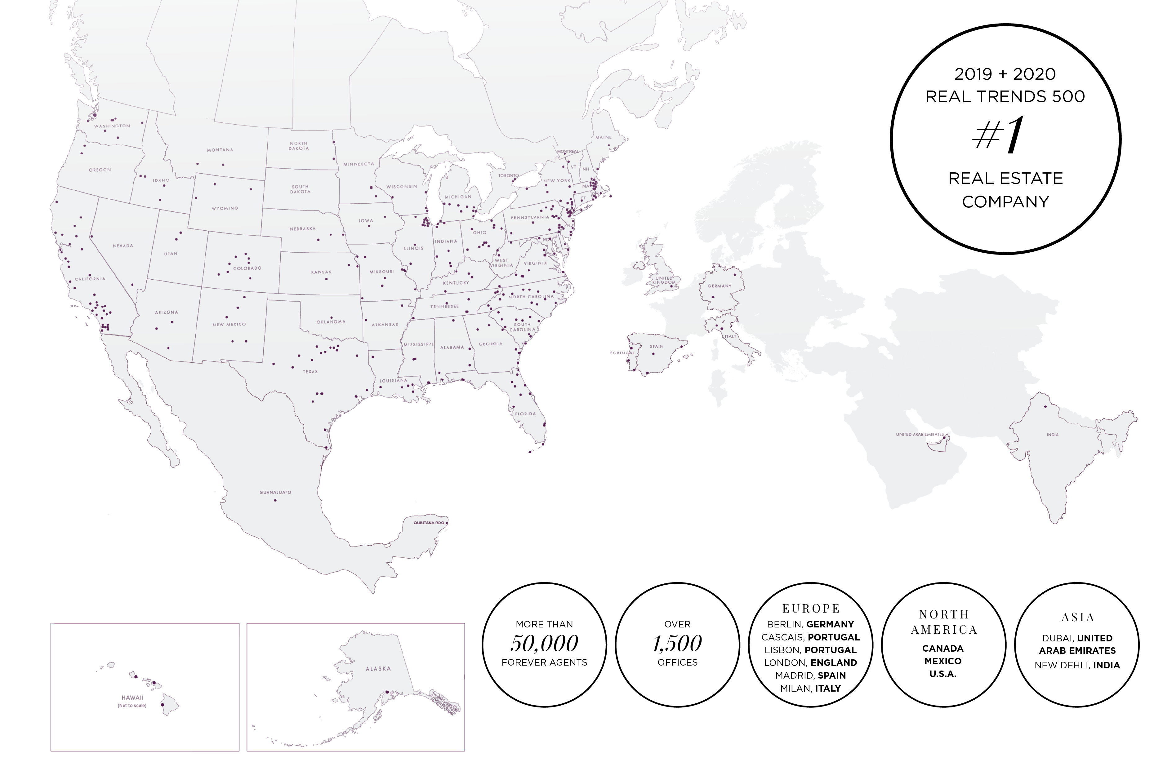 global map showing Berkshire Hathaway HomeServices real estate office locations throughout the United States, Canada, Mexico, Europe, and Asia